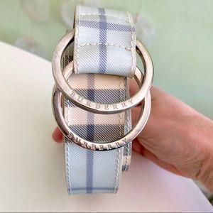 Burberry Blue Nova Check Plaid Double O-Ring Belt